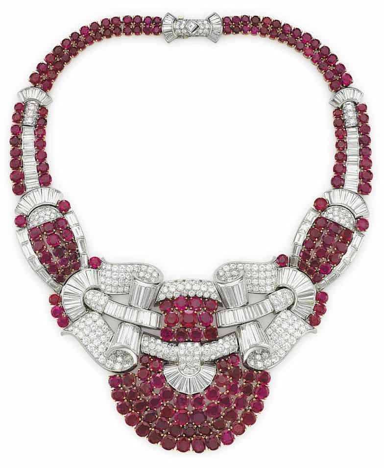 LOT 98 - A RUBY, SYNTHETIC RUBY AND DIAMOND NECKLACE