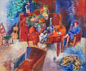 Lot 24: Jean Dufy Jeune femme dans l'interieur fleuri $40,000 - 60,000