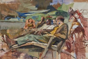 Lot 759: Richard Estes People on Park Bench $15,000 - 25,000