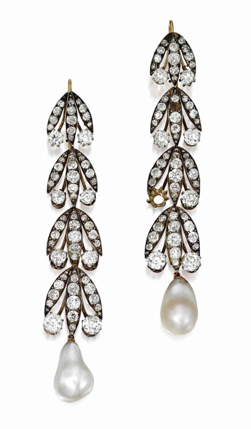 LOT 109 - PAIR OF NATURAL PEARL AND DIAMOND EARRINGS