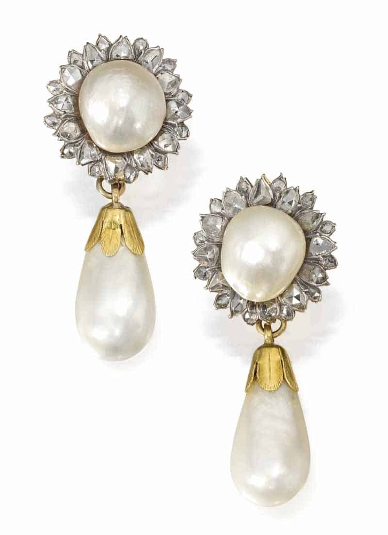 LOT 77 - PAIR OF NATURAL PEARL AND DIAMOND EARCLIPS/EAR PENDANTS
