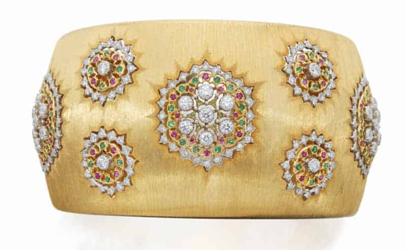 LOT 623 - GOLD, DIAMOND, EMERALD AND RUBY CUFF-BRACELET, BUCCELLATI