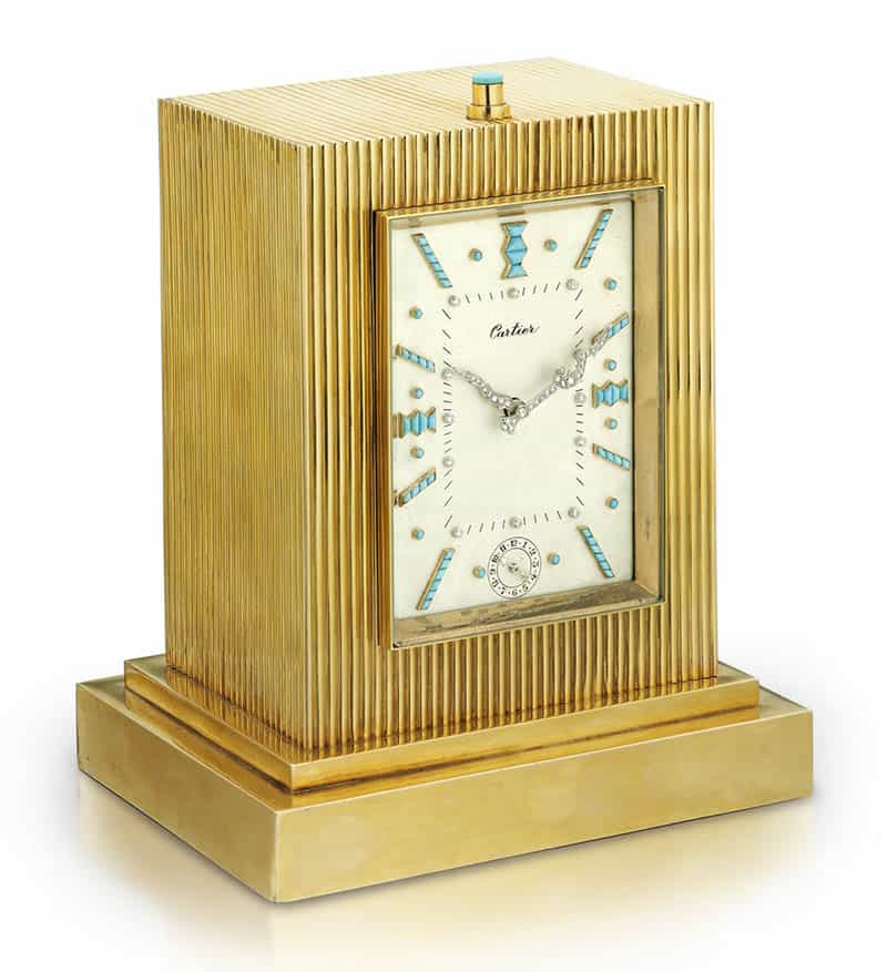 LOT 381 - GOLD, TURQUOISE AND DIAMOND GRANDE AND PETITE REPEATING DESK CLOCK WITH ALARM, CARTIER
