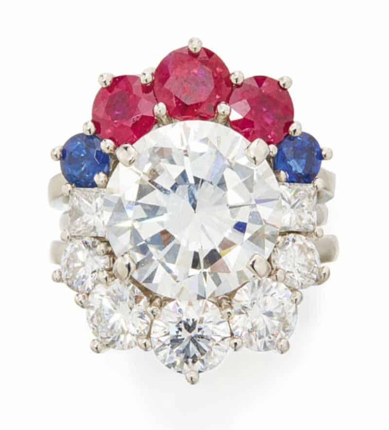 LOT 617 - DIAMOND, RUBY AND SAPPHIRE RING