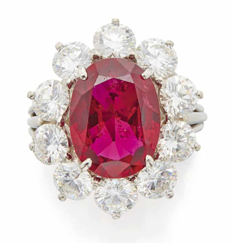 LOT 612 - RUBY AND DIAMOND RING