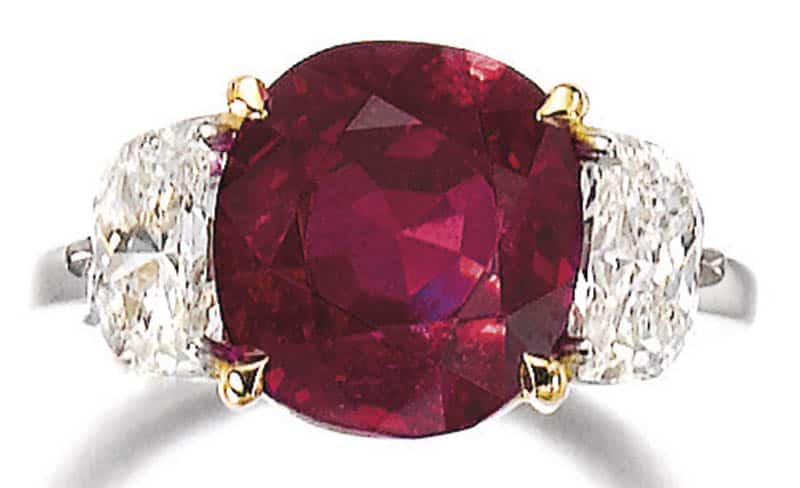 LOT 338 - RUBY AND DIAMOND RING