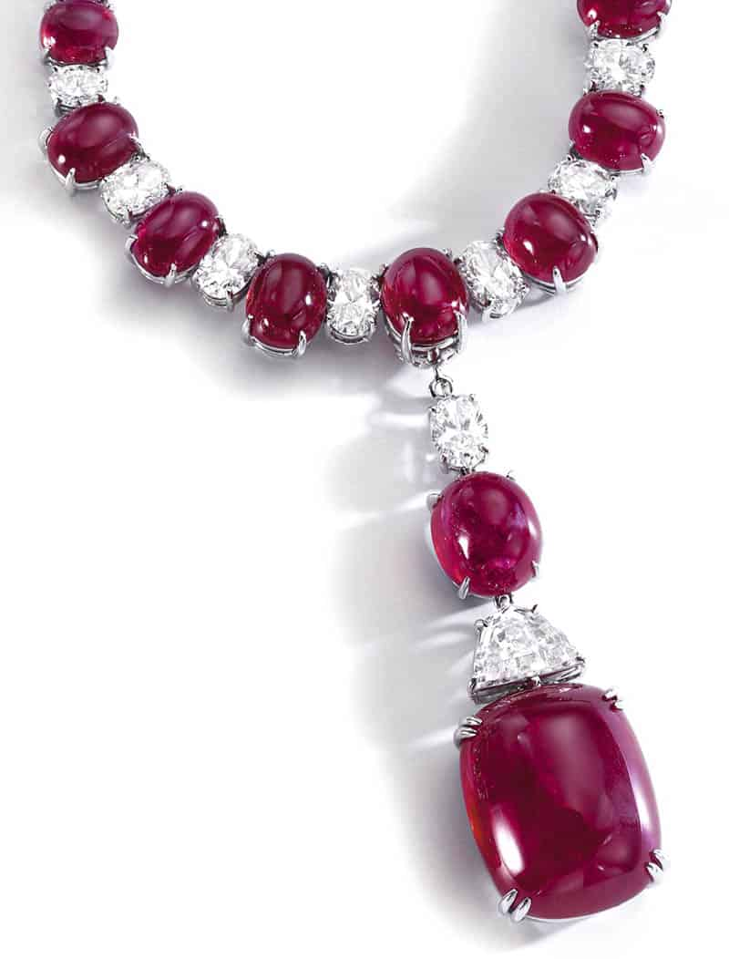 LOT 232 - RUBY AND DIAMOND NECKLACE, BULGARI – PENDANT ENLARGED