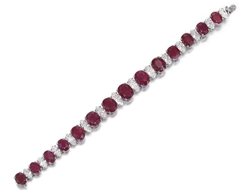 LOT 357 - RUBY AND DIAMOND BRACELET