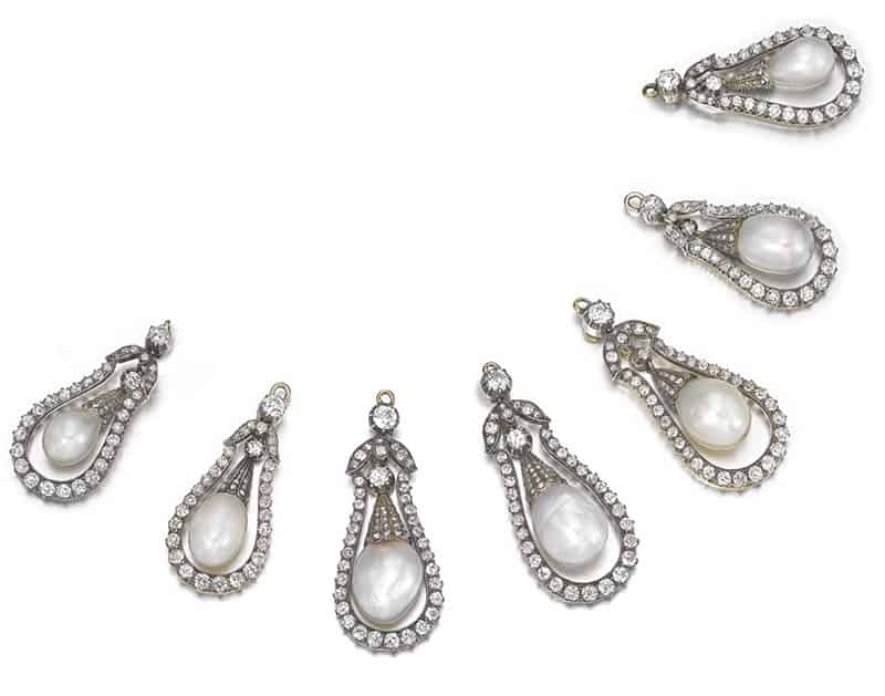 LOT 300 - GROUP OF SEVEN NATURAL PEARL AND DIAMOND PENDANTS