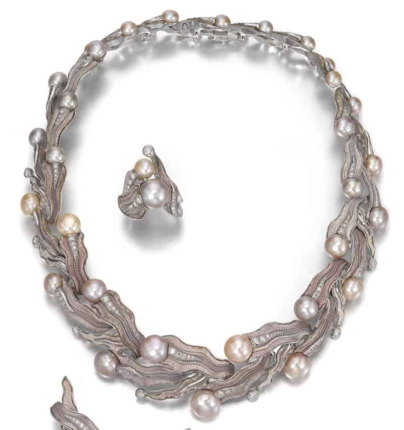 LOT – 41 - CULTURED PEARL, SEA URCHIN SHELL AND DIAMOND PARURE, GILBERT ALBERT
