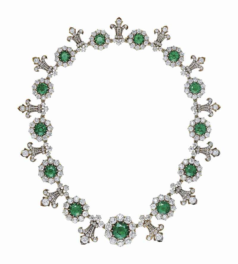 LOT 315 - IMPORTANT LATE 19TH CENTURY EMERALD AND DIAMOND NECKLACE, BY TIFFANY & Co.
