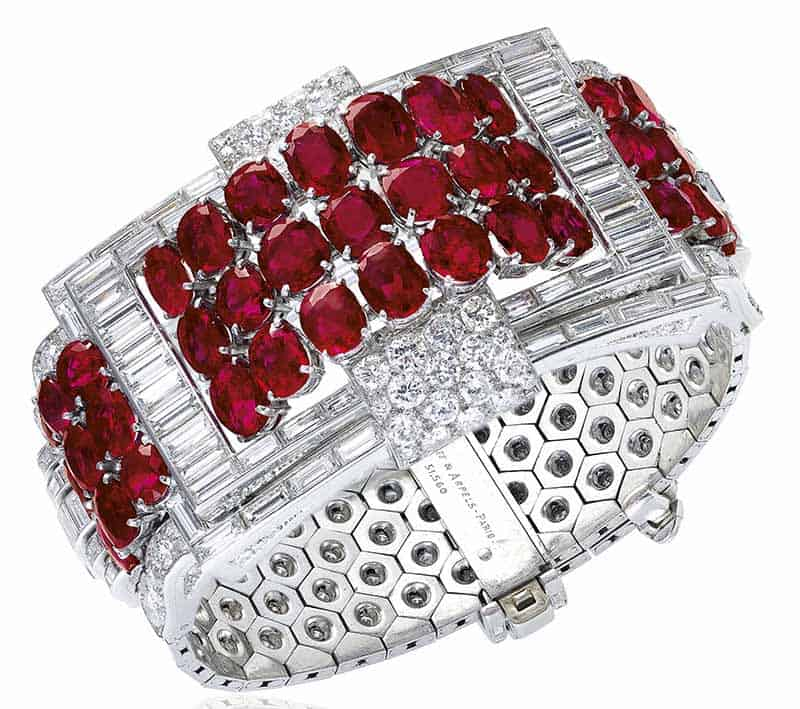 LOT 378 - ART DÉCO RUBY, SYNTHETIC RUBY AND DIAMOND BRACELET, VAN CLEEF & ARPELS