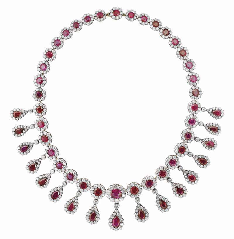LOT 309 - LATE 19TH CENTURY RUBY AND DIAMOND NECKLACE