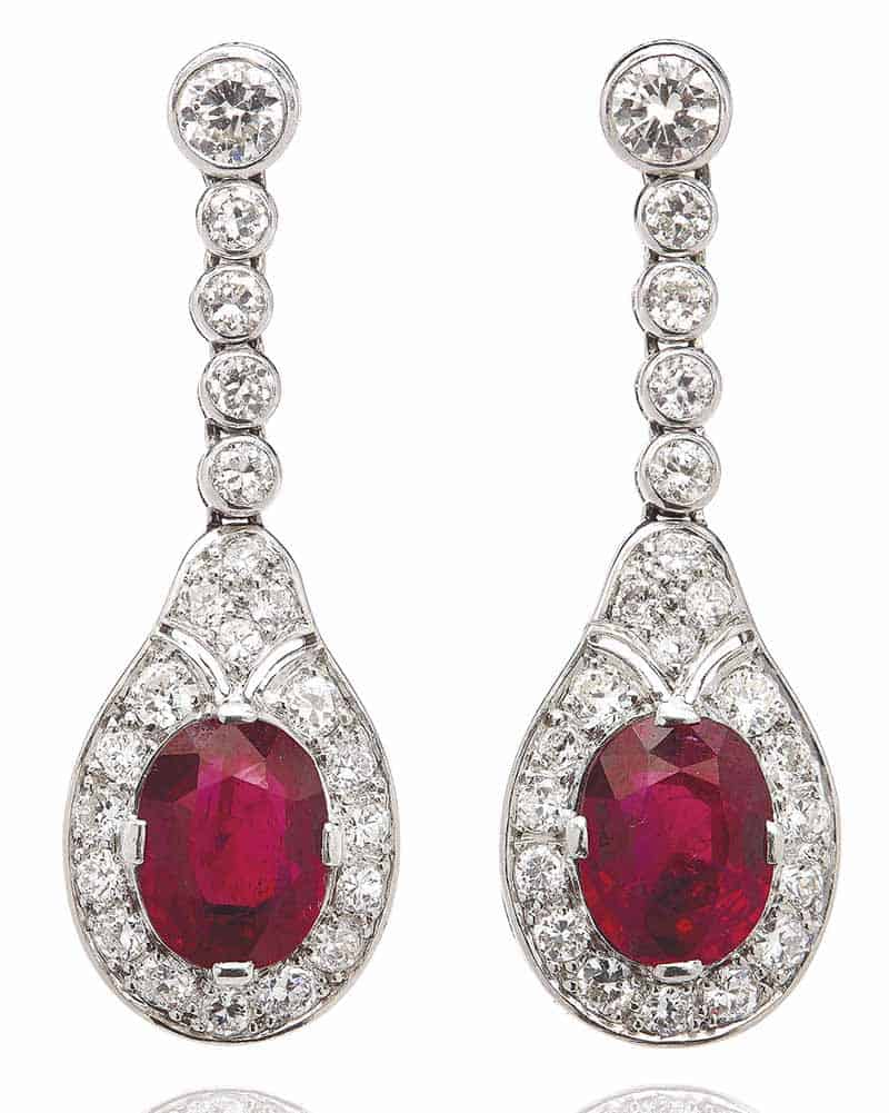 LOT 48 - EARLY 20TH CENTURY RUBY AND DIAMOND EARRINGS