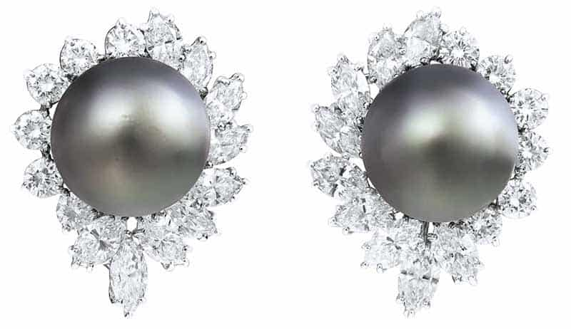 LOT 21 - COLOURED CULTURED PEARL AND DIAMOND EARRINGS, CARTIER