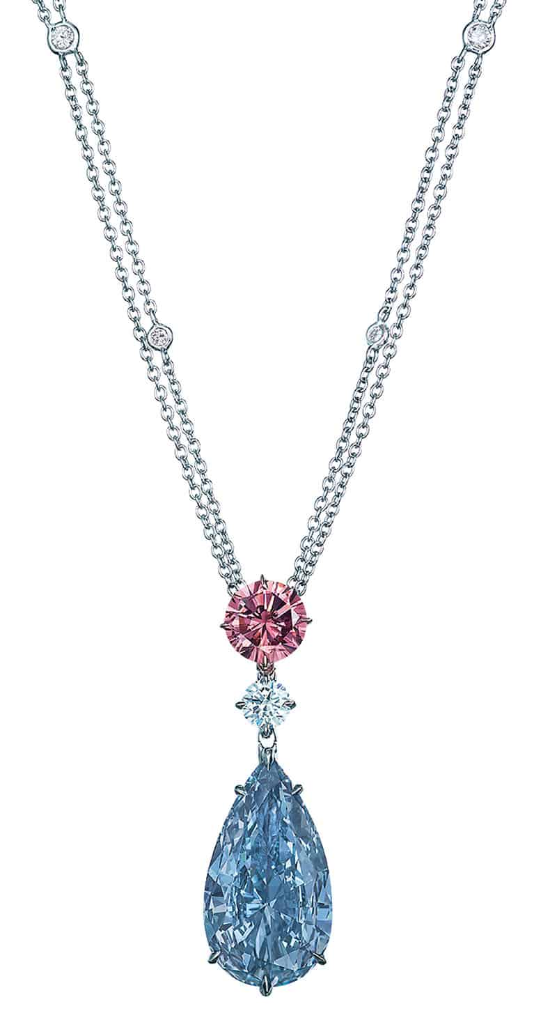 LOT 2093 - A MAGNIFICENT COLOURED DIAMOND AND DIAMOND PENDANT NECKLACE BY MOUSSAIEFF