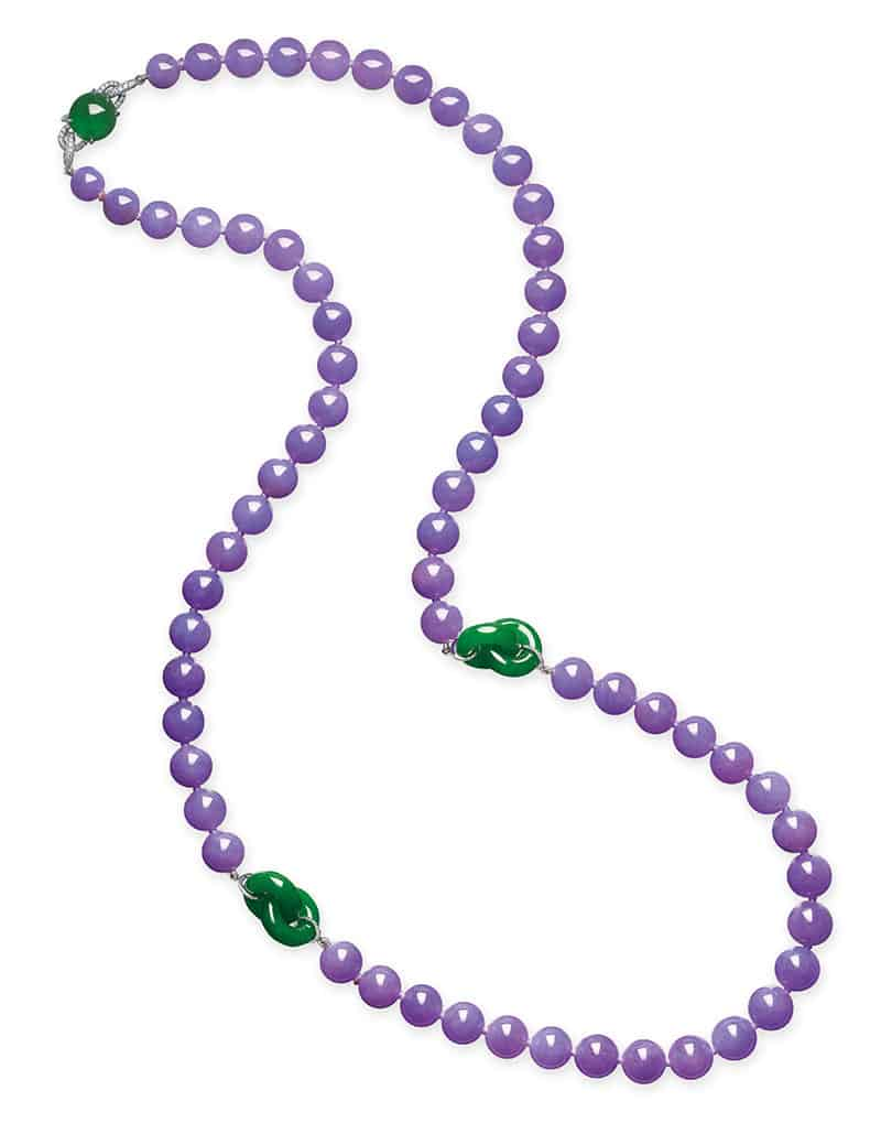 LOT 2044 - A SUPERB JADEITE AND DIAMOND NECKLACE