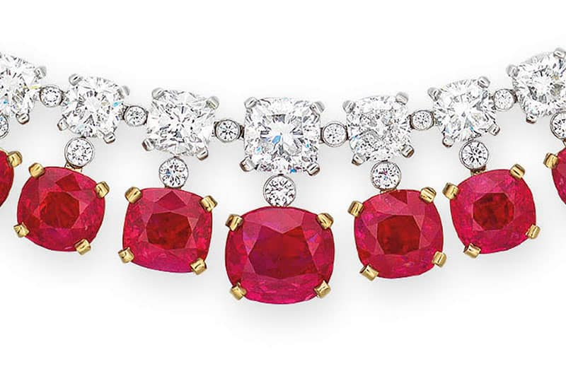 LOT 2061 - A RARE RUBY AND DIAMOND