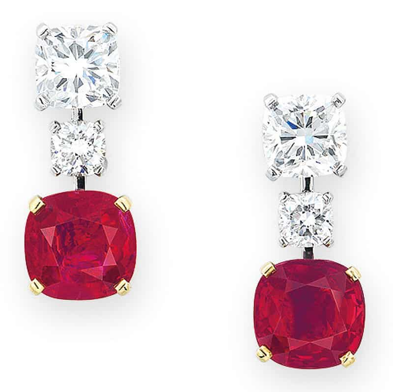 LOT 2059 - AN IMPORTANT PAIR OF RUBY AND DIAMOND EAR PENDANTS