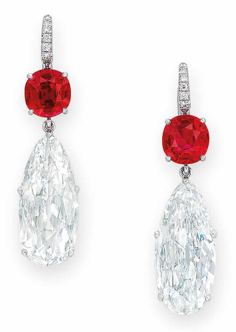 LOT 2053 - AN ELEGANT PAIR OF DIAMOND AND RUBY EAR PENDANTS