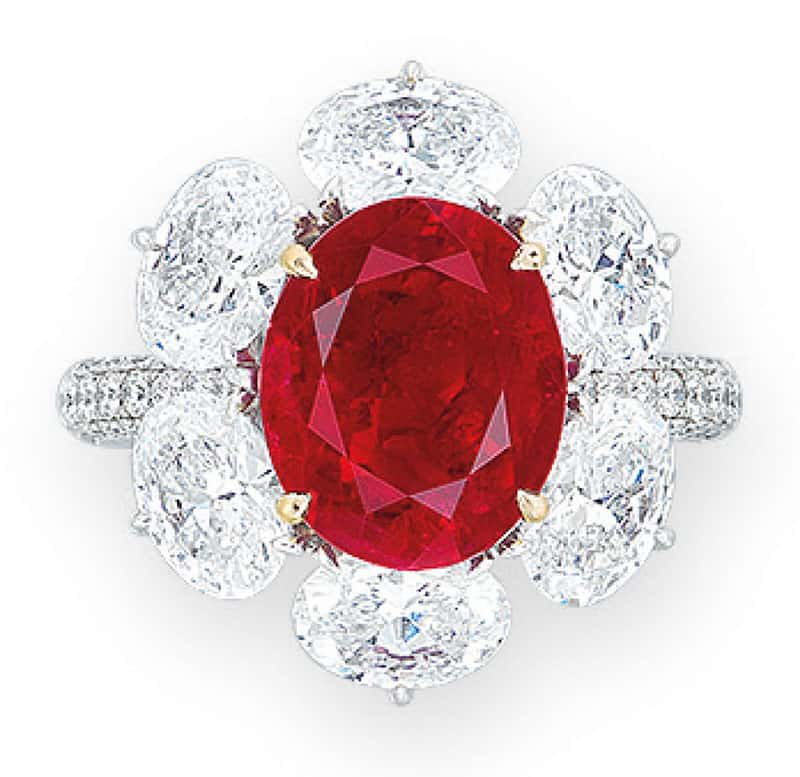 LOT 1970 - AN IMPORTANT RUBY AND DIAMOND RING