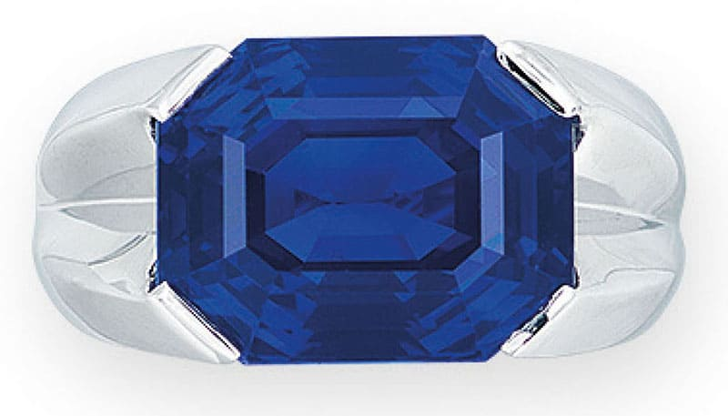 LOT 1966 - A SAPPHIRE AND DIAMOND RING, BY CHOPARD
