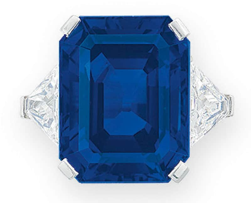 LOT 2056 - A SUPERB SAPPHIRE AND DIAMOND RING, BY BULGARI