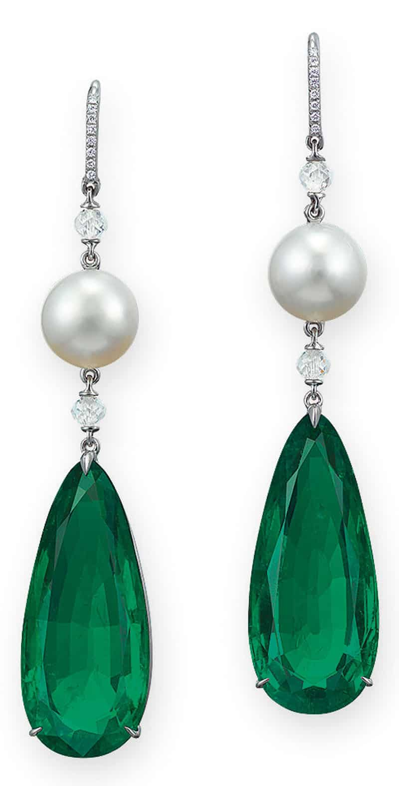 LOT 2015 - AN ELEGANT PAIR OF EMERALD, NATURAL PEARL AND DIAMOND EAR PENDANTS