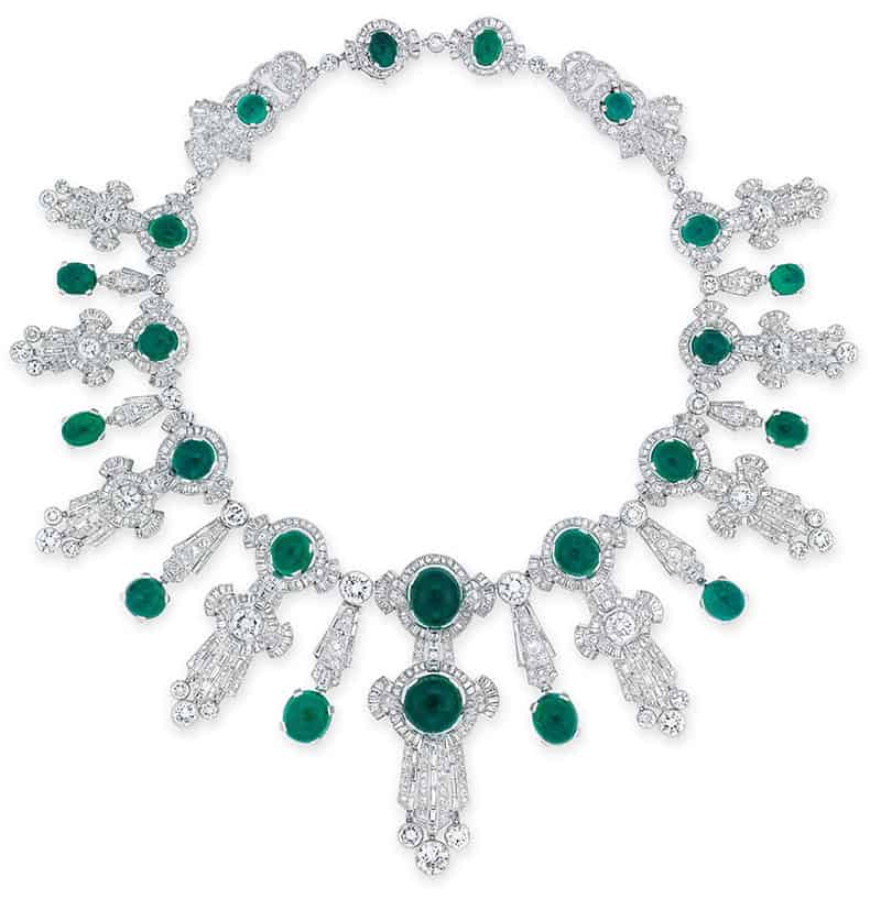 LOT 1948 - AN IMPORTANT EMERALD AND DIAMOND NECKLACE