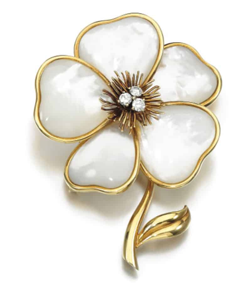 THE BROOCH OF THE VCA MOTHER-OF-PEARL AND DIAMOND DEMI-PARURE,