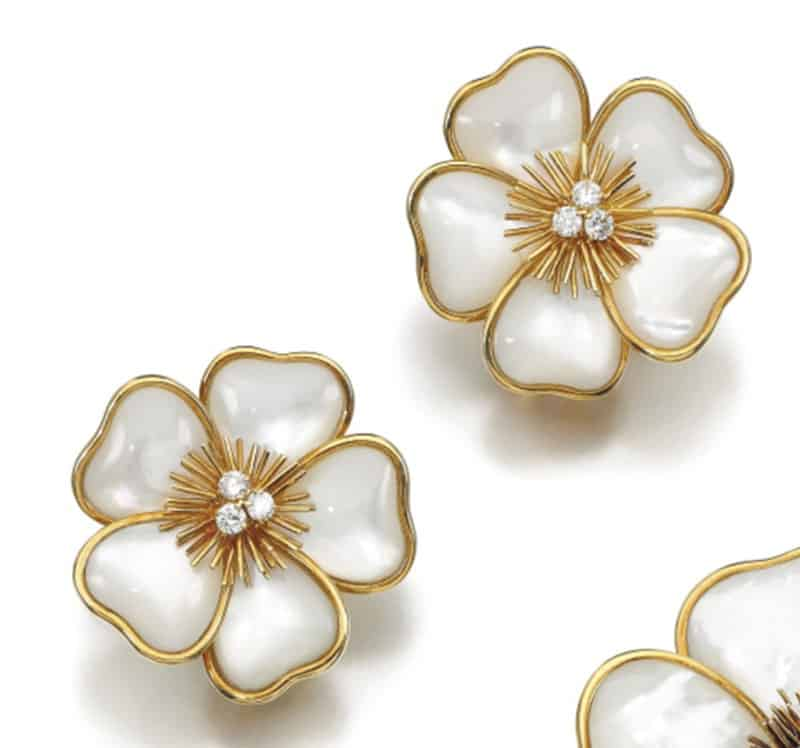 THE PAIR OF EARCLIPS OF THE VCA MOTHER-OF-PEARL AND DIAMOND DEMI-PARURE,