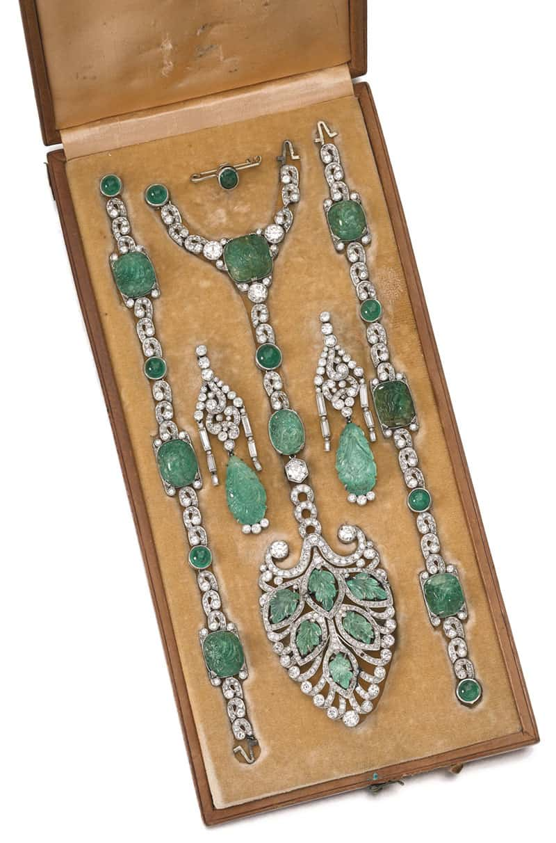RAVASCO NECKLACE DISMANTLED INTO TWO BRACELETS & SHOULDER BROOCH, AND THE PAIR OF EARRINGS INSIDE THE FITTED CASE STAMPED GIACOMO RAVASCO