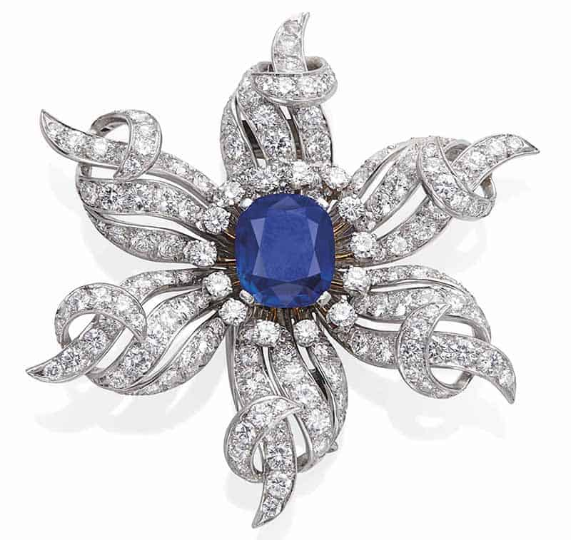 LOT 73 – SAPPHIRE AND DIAMOND BROOCH BY SCHLUMBERGER FOR TIFFANY