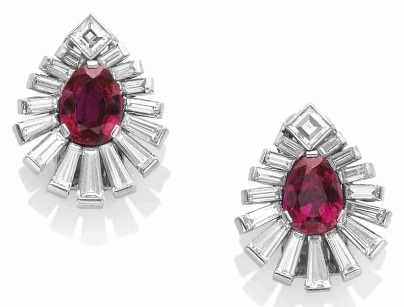 LOT 149 – PAIR OF DIAMOND AND RUBY EAR CLIPS