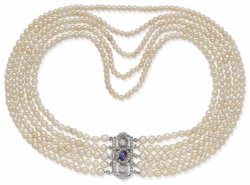 LOT 122 – NATURAL PEARL, SAPPHIRE AND DIAMOND NECKLACE