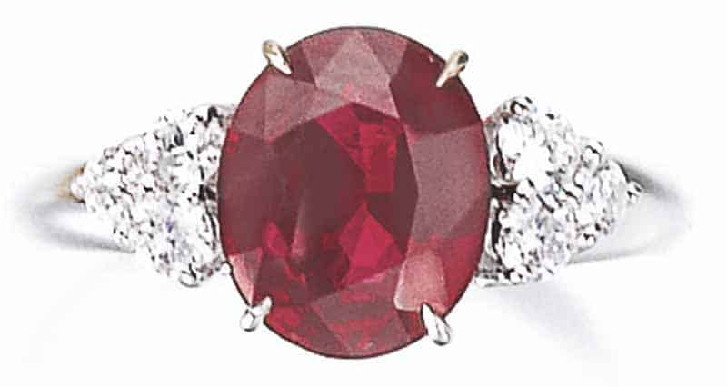 LOT 814 - RUBY AND DIAMOND RING