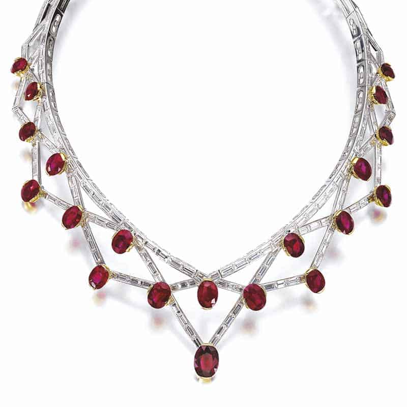 LOT 803 - RUBY AND DIAMOND NECKLACE