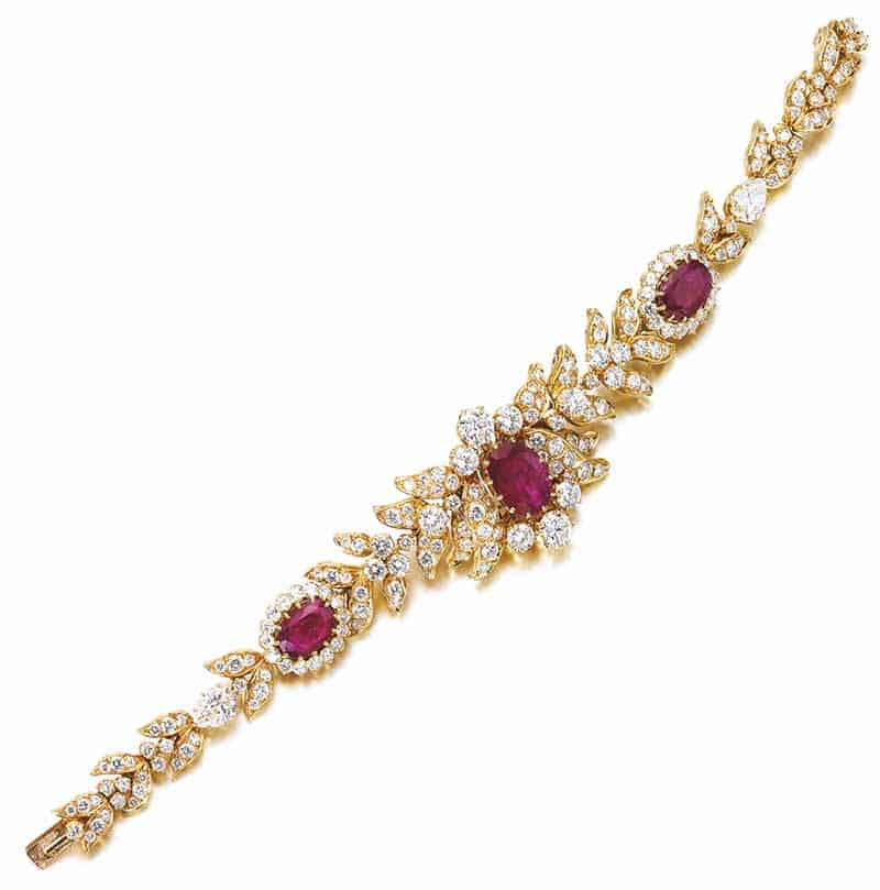 LOT 813 - RUBY AND DIAMOND BRACELET