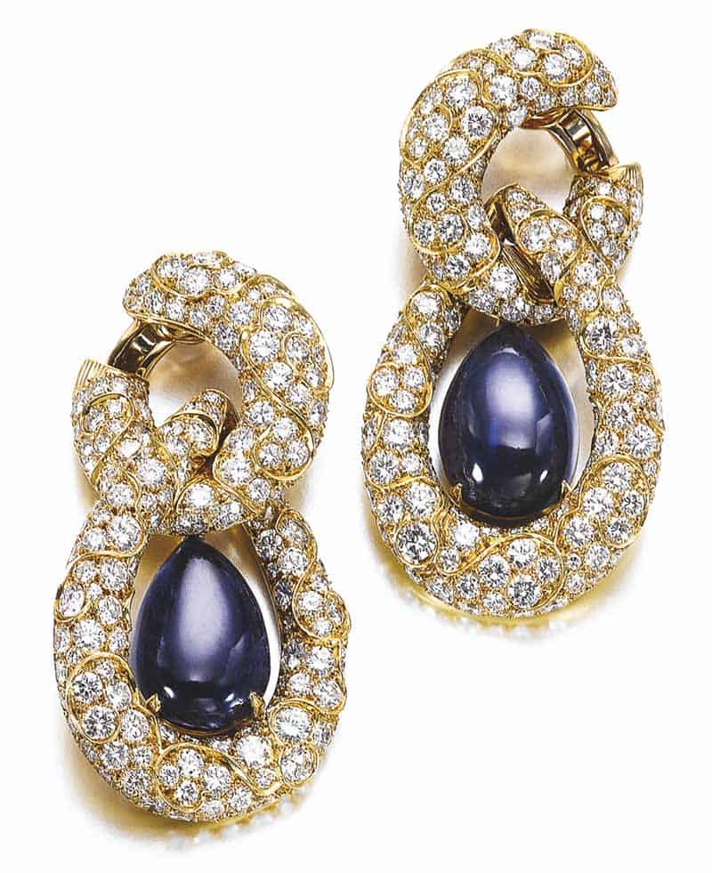 LOT 778 - SAPPHIRE AND DIAMOND EARRINGS