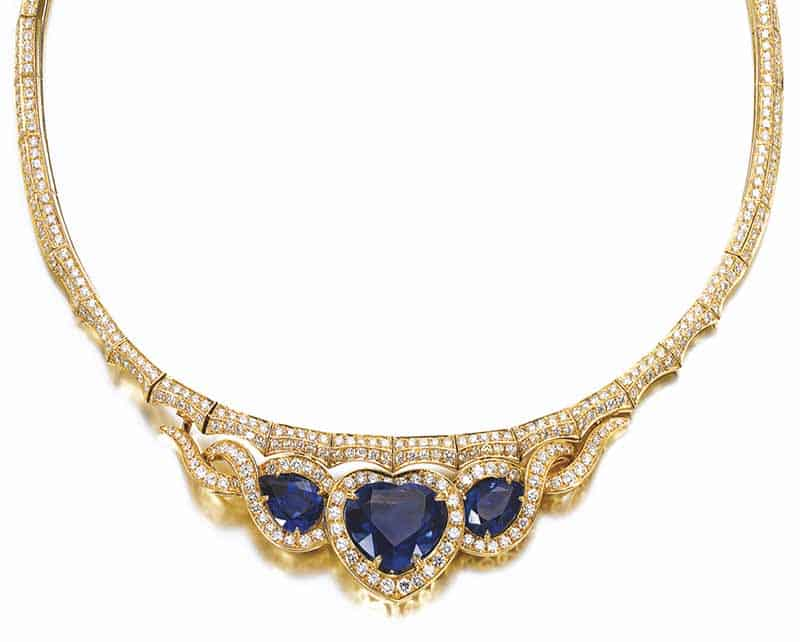 LOT 632 - SAPPHIRE AND DIAMOND NECKLACE