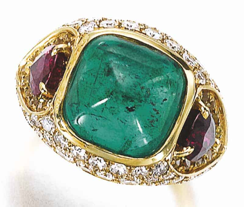 LOT 795 - EMERALD, RUBY AND DIAMOND RING