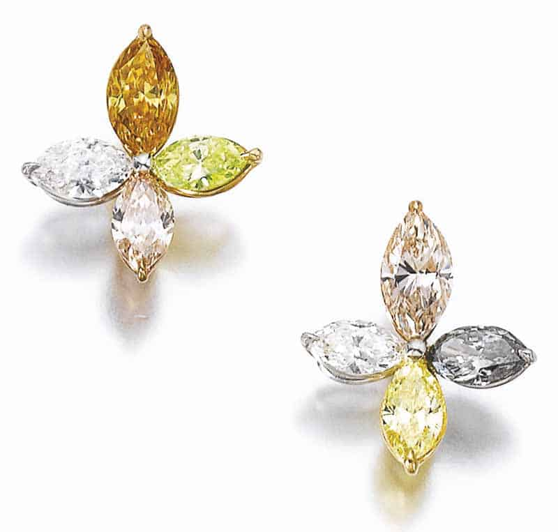 LOT 722 - FANCY COLOURED DIAMOND AND DIAMOND EARRINGS