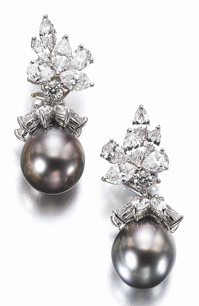LOT 593 - PAIR OF CULTURED PEARL AND DIAMOND EARRINGS, TIFFANY & CO.