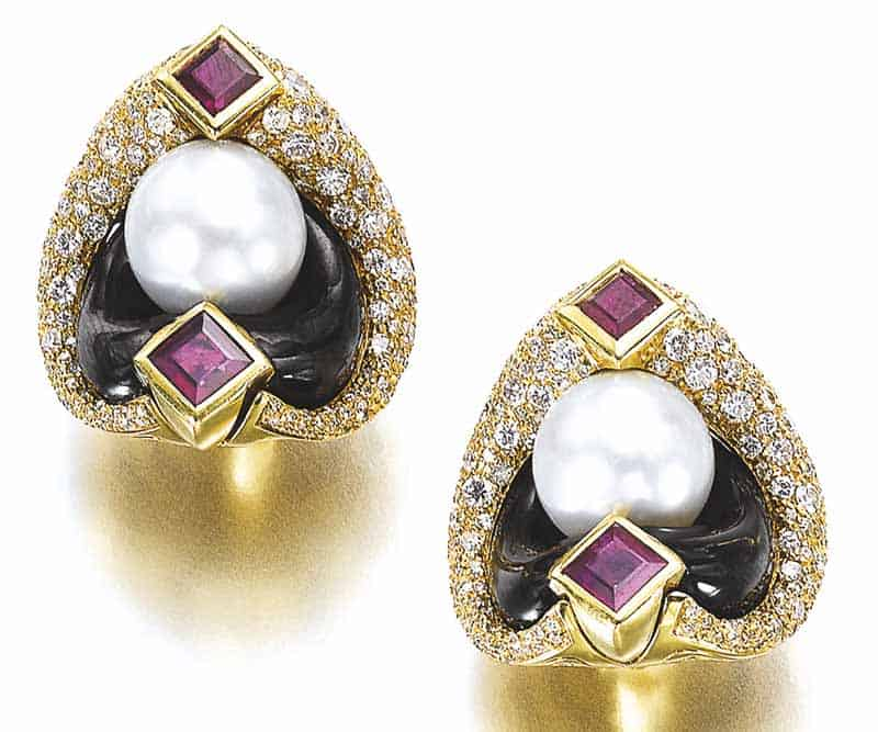 LOT 799 – PAIR OF CULTURED PEARL, GEM SET AND DIAMOND EAR CLIPS, 'LORETO', MARINA B