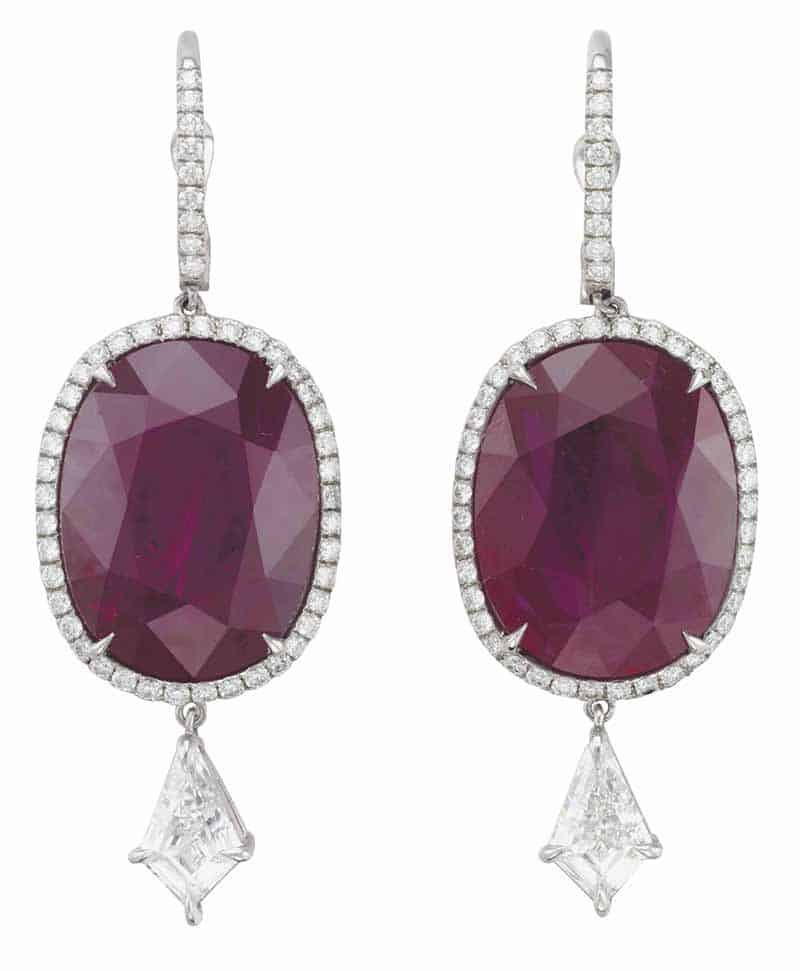 LOT 113 - A PAIR OF RUBY AND DIAMOND EARRINGS