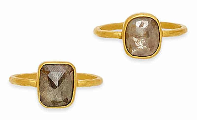 Lot 325 - TWO COLORED DIAMOND AND GOLD RINGS