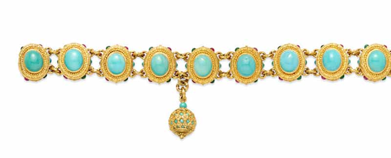 LOT 405 - A TURQUOISE, EMERALD, RUBY AND 18K GOLD BRACELET, D.K. Maltin