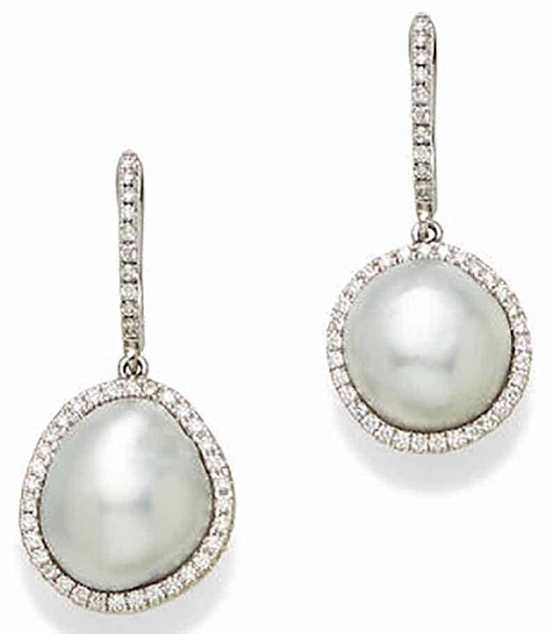 LOT 394 - A PAIR OF CULTURED PEARL, DIAMOND AND 18K WHITE GOLD EAR PENDANTS