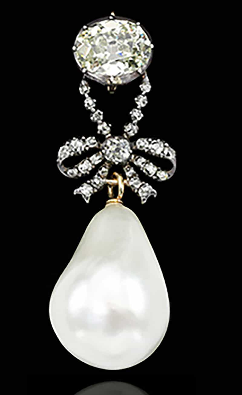 1.EXCEPTIONAL AND HISTORIC NATURAL PEARL AND DIAMOND PENDANT, 18TH CENTURY FROM QUEEN MARIE ANTOINETTE OF FRANCE