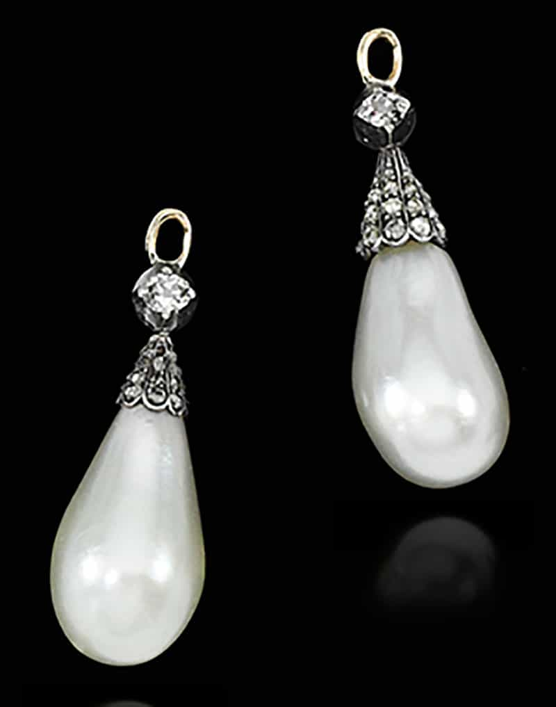 5.PAIR OF NATURAL PEARL AND DIAMOND PENDANT EARRINGS, 19TH CENTURY